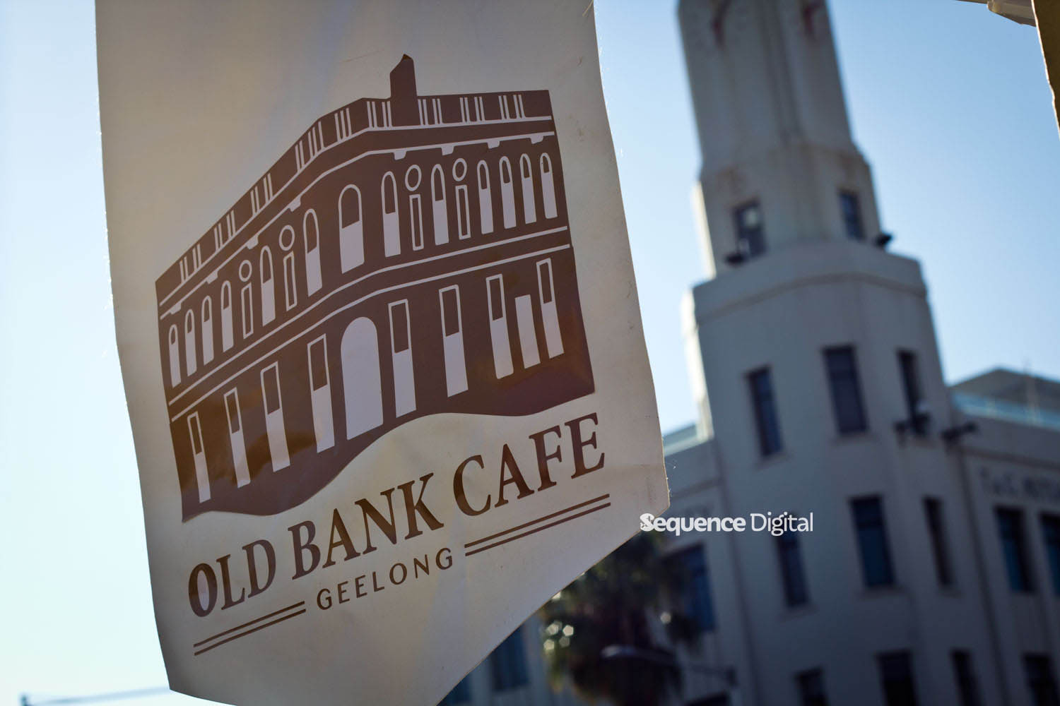 Old Bank Cafe Geelong - Flag with T&G Building Behind It