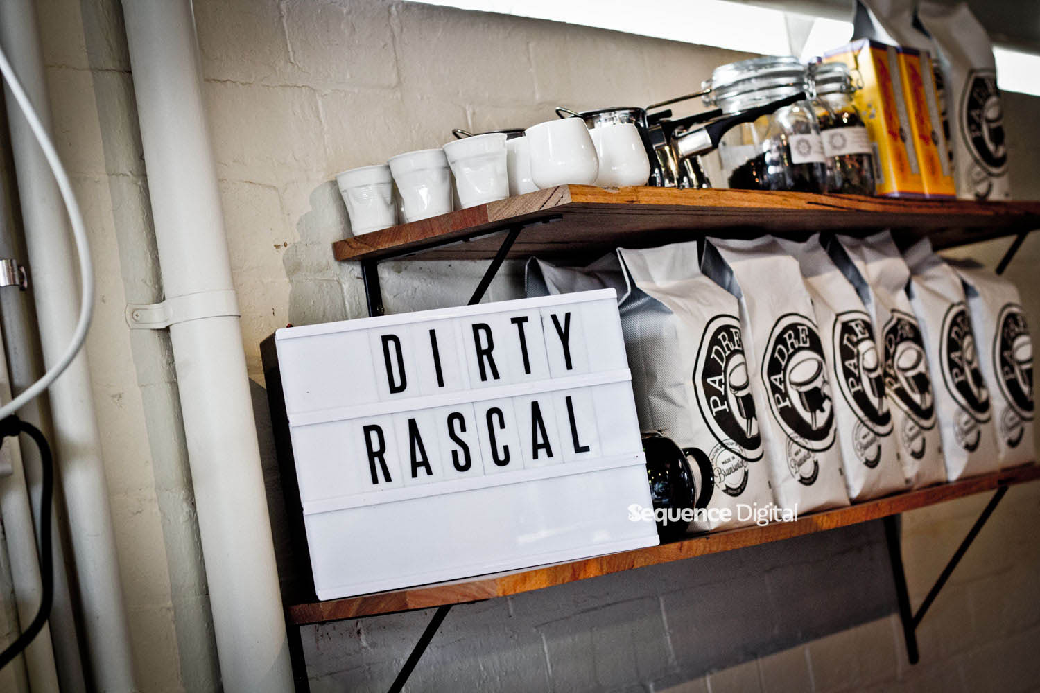 Dirty Rascal Cafe Geelong - Signage Behind the Bar